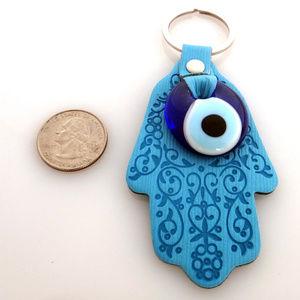 Accessories - Evil Eye Hamsa Hand key chain - blue